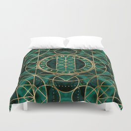 Web of Wyrd The Matrix of Fate - Gold and Malachite Duvet Cover