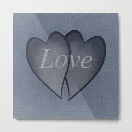 Hearts with background - denim photocollage Metal Print