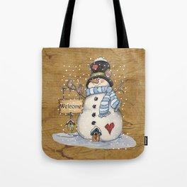 Folk Art Snowman Christmas Tote Bag