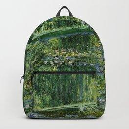 Water Lilies and Japanese Footbridge, Claude Monet Backpack