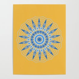 Gold Blue Aztec Mandala Design Poster