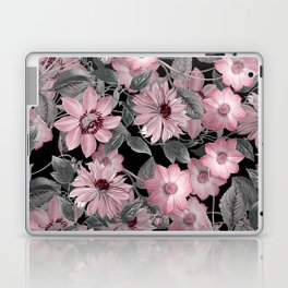 Nostalgic Floral Pattern On Black Laptop & iPad Skin