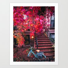 New York City Brooklyn Bicycle and Autumn Foliage Art Print