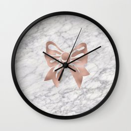 Rose gold marble bow Wall Clock