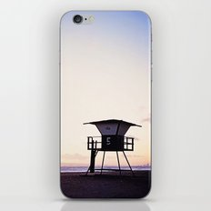 Vintage Lifeguard Tower Silhouette at Sunset, Sunset Beach, California iPhone & iPod Skin