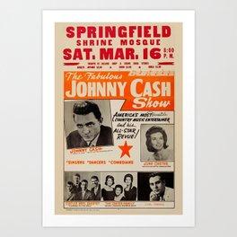 1967 Johnny Cash, Carter Family, Carl Perkins at Springfield Shrine Mosque Concert Poster Art Print