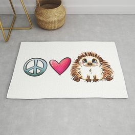Peace, Love and Hedgehogs Rug
