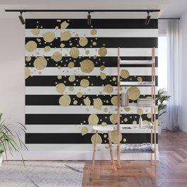 Faux Gold Paint Splatter on Black & White Stripes Wall Mural