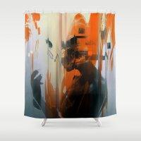 glitch Shower Curtains featuring glitch by HAW Design Studio