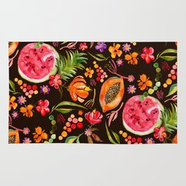Tropical Fruit Festival in Black | Frutas Tropicales en Negro Rug
