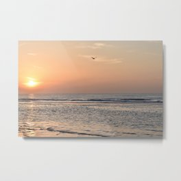 Seagull and calm waves at sunset on a dutch beach -- Pastel travel Art Print Metal Print