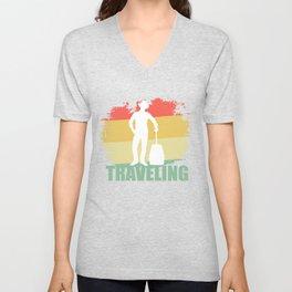 Retro Traveling Tee Shirt Unisex V-Neck