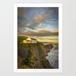 The hermitage of San Telmo at sunset in Zumaia, Spain Art Print