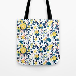 Buttercup yellow, salmon pink, and navy blue flowers on white background pattern Tote Bag