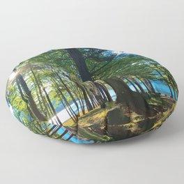 Tree Grove & Lake Sunrise Floor Pillow