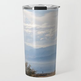 Salton Sea Mountain Lake Lanscape Coastal Beach Colored Print Travel Mug