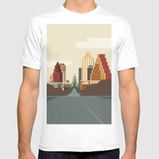 Austin Skyline LARGE Mens Fitted Tee White