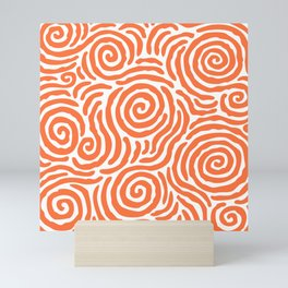 Ripple Effect Pattern Orange Mini Art Print