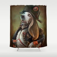napoleon Shower Curtains featuring Napoleon Boneaparte by Christina Hess
