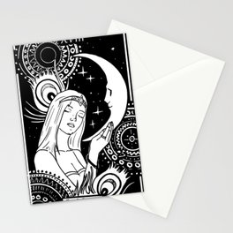 tarot card The Moon witchy girly design Stationery Cards