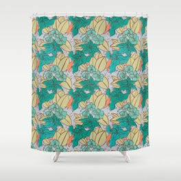 Green Lilies and Orchids Shower Curtain