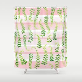 fresh green on gentle pink Shower Curtain
