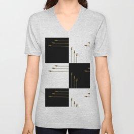 Zippety Do Dah Minimalist Zip Design in Black and White Unisex V-Neck