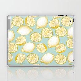 Lemons On Turquoise Background Laptop & iPad Skin