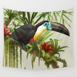 Channel- billed toucan vintage illustration. Wall Tapestry