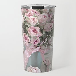 Pastel Roses In Vase - Shabby Chic Roses Pink Aqua Floral Print Home Decor Travel Mug