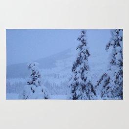 Snow Laden Evergreen Trees Rug