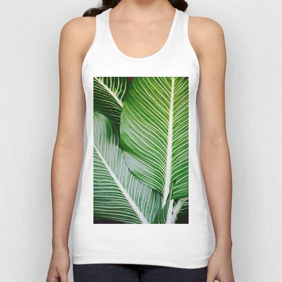 palm leaf pattern Unisex Tank Top