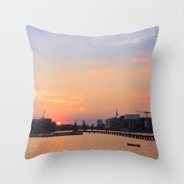 berlin kreuzberg -  skyline, sunset, river and boats Throw Pillow