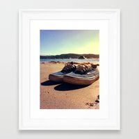vans Framed Art Prints featuring Beached Vans by Pretty In Palms Designs