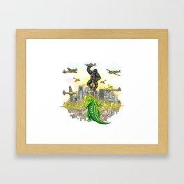 Godzilla vs King Kong  in tokyo ? Framed Art Print