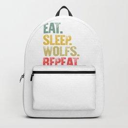 Eat Sleep Repeat Shirt Eat Sleep Wolfs Repeat Funny Gift Backpack