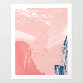 Kisses: a pretty abstract mixed media piece in pink and blue Art Print