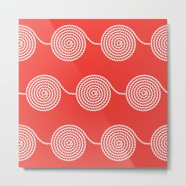 Yacht style. Rope spirals. Red. Metal Print