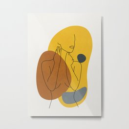Minimal Line Art Woman Figure III Metal Print