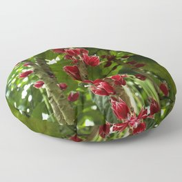 Red Flowers with Green leaf background Floor Pillow
