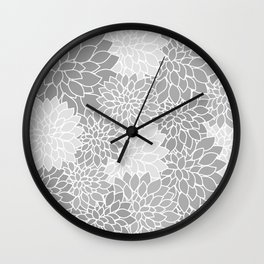 Gray Dahlias / Gray Flowers Wall Clock