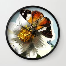 Butterfly on flower 12 Wall Clock