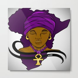 Black Queen Africa Background Metal Print
