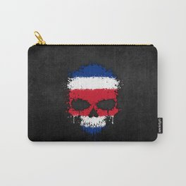Flag of Costa Rica on a Chaotic Splatter Skull Carry-All Pouch