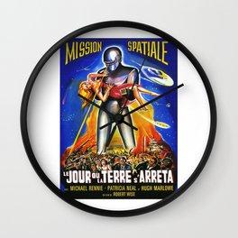 Mission Spatiale, Le Jour ou la Terre s Arreta, sci-fi vintage movie poster Wall Clock