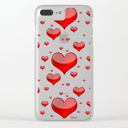 Hearts Red and White Clear iPhone Case