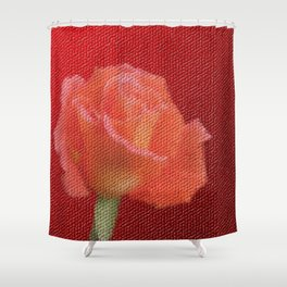 orange single rose bloom in small mosaic on a colored background of small hexagons Shower Curtain