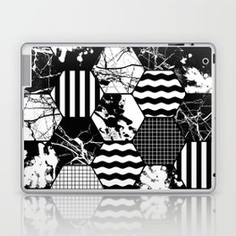Hexual - Black and white, honeycomb, hexagon pattern, stripes, paint splats, grid and marble Laptop & iPad Skin