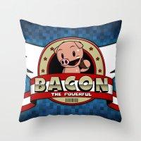 bacon Throw Pillows featuring Bacon by maiconmcn
