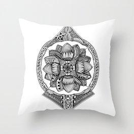 Abstract Mandala Drawing Throw Pillow